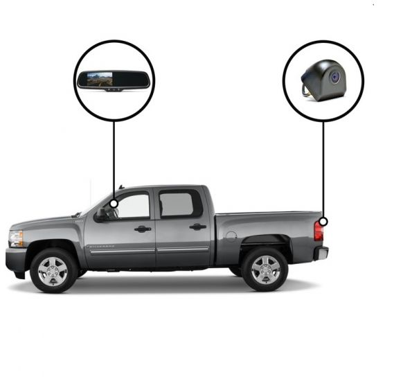 RVS Systems RVS-718500-07 480 TVL Tailgate Camera, Mirror Monitor with Compass and Temperature, 33ft Cable RVS-718500-07 by RVS Systems
