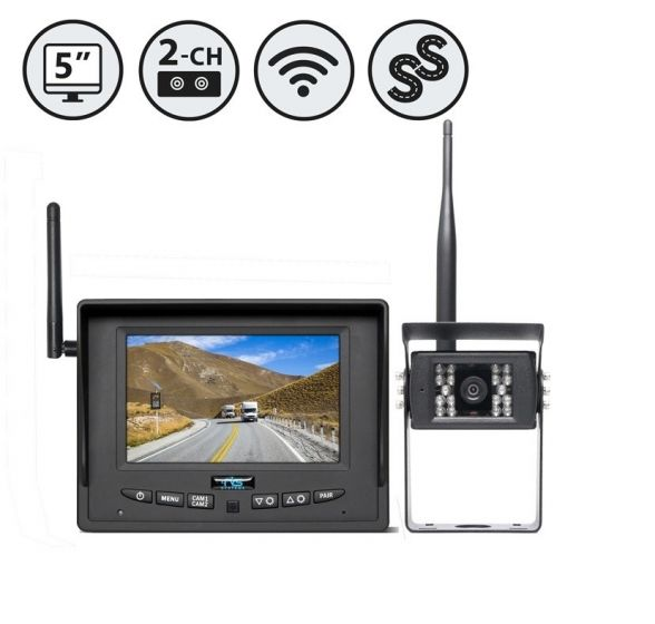 """RVS Systems RVS-255W-SC-02 2 Wireless Backup Cameras, 5"""" Wireless Display, Suction Cup Mount RVS-255W-SC-02 by RVS Systems"""