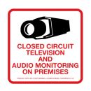 Maxwell DTV-205 CCTV & Audio Monitoring Decal - 4 x 4 - Red & Black (100 pk)