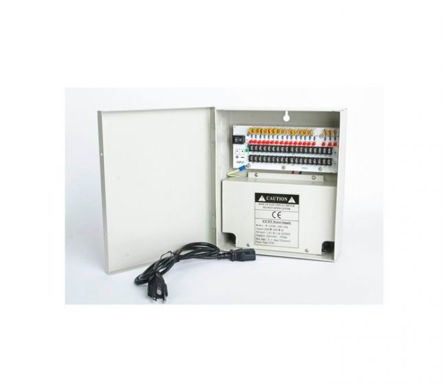 Cantek CT-W-12VDC-18P-10A-UL 12 VDC 10 Amps 18 PTC Output CCTV Distributed Power Supply CT-W-12VDC-18P-10A-UL by Cantek