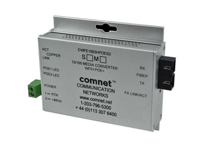 Comnet CWFE1002BPOEMHO/M 10/100 Mbps Ethernet 2 Port Media Converter CWFE1002BPOEMHO/M by Comnet