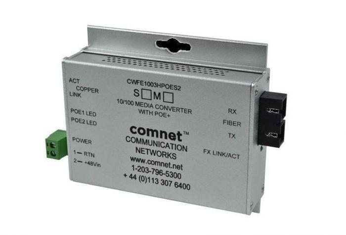 Comnet CWFE1002BPOES/M 10/100 Mbps Ethernet 2 Port Media Converter CWFE1002BPOES/M by Comnet
