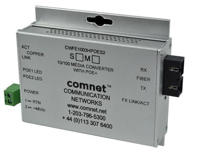 Comnet CWFE1005POESHO/M Commercial Grade 100Mbps Media Converter, ST Connector CWFE1005POESHO/M by Comnet