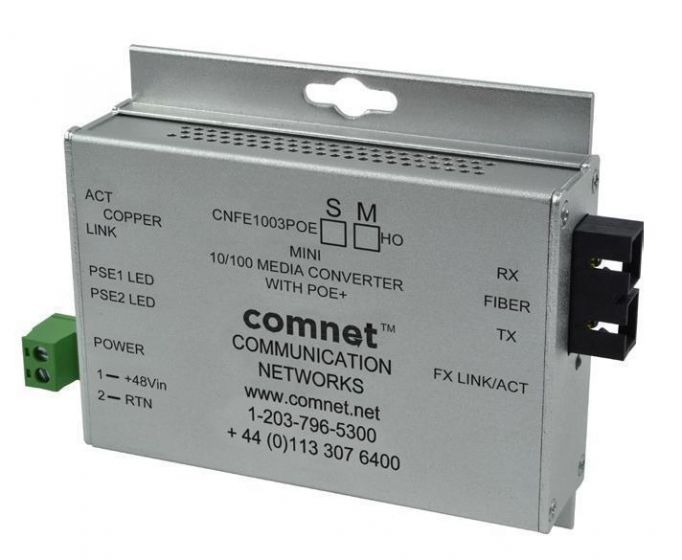 Comnet CNFE1004APOEMHO/M 10/100 Mbps Ethernet 2 Port Media Converter with PoE+ CNFE1004APOEMHO/M by Comnet