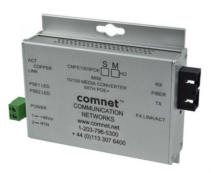Comnet CNFE1005POESHO/M 10/100 Mbps Ethernet 2 Port Media Converter with PoE+ CNFE1005POESHO/M by Comnet
