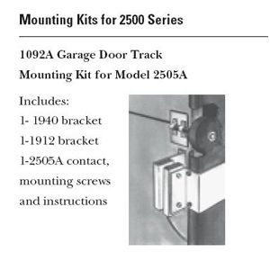 GE Security Interlogix 1092A-L Garage Door Track Mounting Kit for 2505A 1092A-L by Interlogix