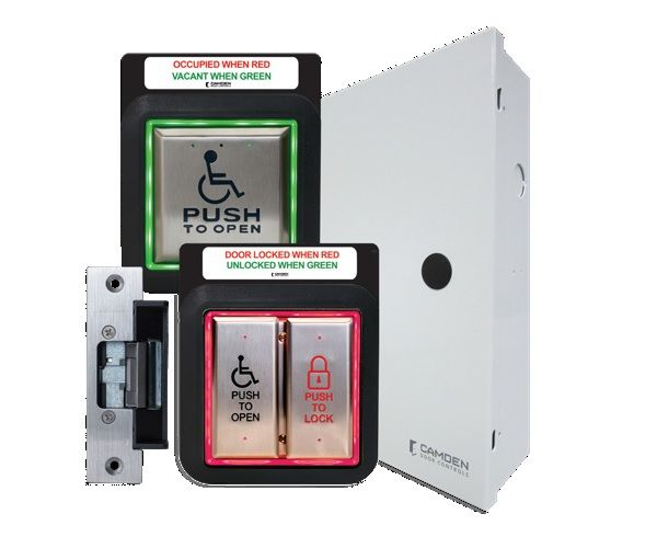 Camden Door Controls CX-WC13AXFM-PSF Illuminated Restroom Kit, Flush Mount, Power Sup Cab and Strike, French CX-WC13AXFM-PSF by Camden Door Controls