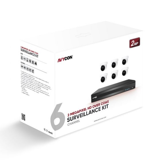 Avycon AVK-TE21E6-2T 2MP HD Over Coax Surveillance Kit: 6 Turret Dome Cameras and 8 Channel HD DVR with 2TB HDD Pre-installed AVK-TE21E6-2T by Avycon