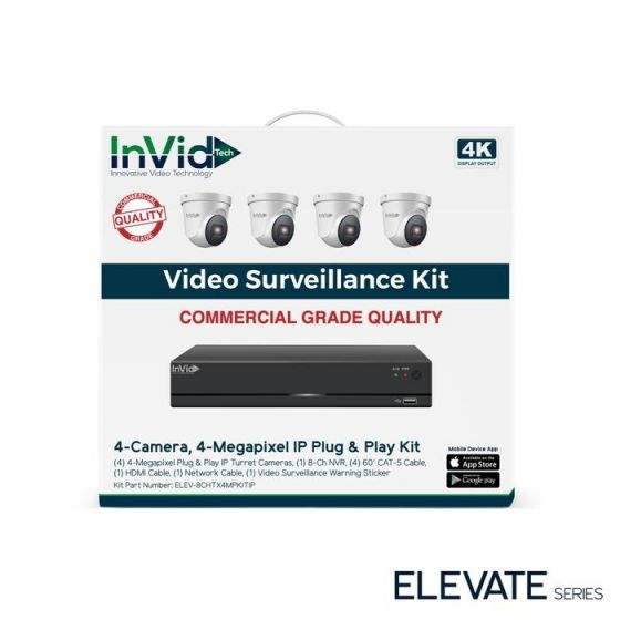 InVid ELEV-8CHTX4MPKITIP 4 Megapixel Plug & Play IP Turret Cameras with 8 Channel Network Video Recorder, No HDD ELEV-8CHTX4MPKITIP by InVid