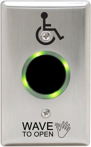 Camden Door Controls CM-SK331-42S-LR SureWave Wireless Switch Kit, Singlegang, Stainless Steel Face Plate with Light Ring CM-SK331-42S-LR by Camden Door Controls