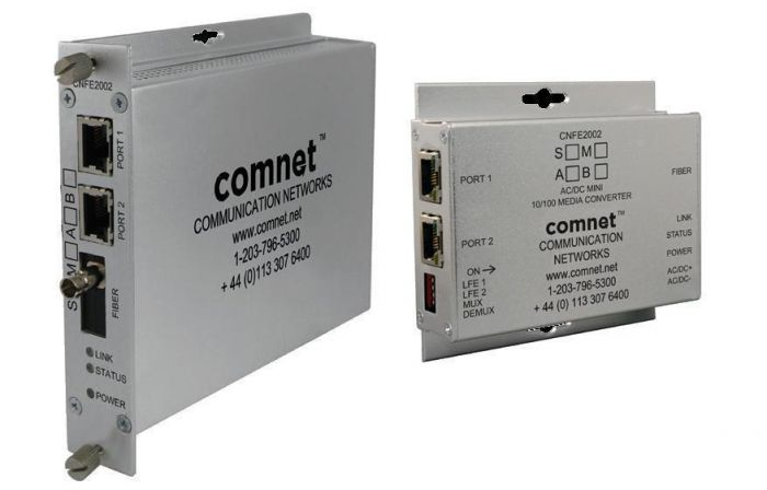 Comnet CNFE2002M1B/M Mini AC/DC Power 10/100 Mbps Media Converter, Non-PoE CNFE2002M1B/M by Comnet